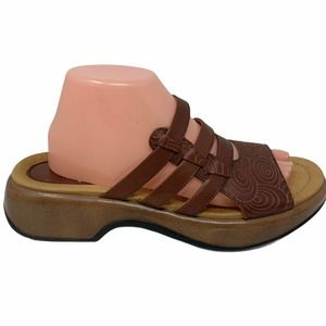 Dansko Lacey Slide Sandals Tooled Leather Shoes